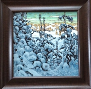 My copy of Lawren Harris' Snow II (really, sis, you could have provided a a straight photo of it).