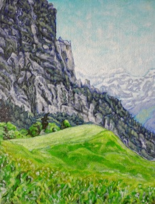 """View of Kleiner Mythen"" -acrylic on board, 18x24 cm COULD BE YOURS!!!!!!!!!"