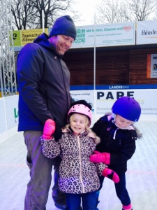 Hubby and the kids at Aegeri rink