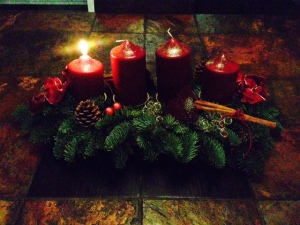 Advent candles - first one lit for the first sunday of advent - 3 more to go!!!!