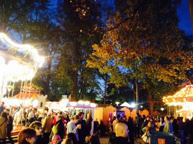 Autumn Evening at Basel Herbstmesse at Petersplatz.