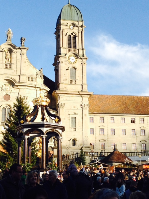 Front facade of the Einsiedeln Monastery and the Weihnachtsmarkt