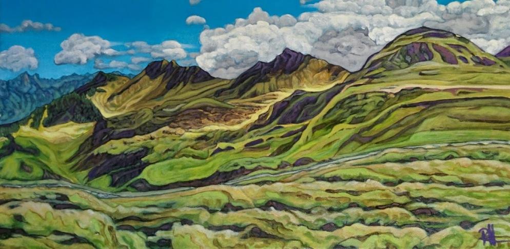 """Lost on Flumserberg"", acrylic on canvas, 30 x 60cm"