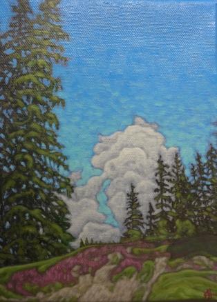 Alpine Meadow in October (acrylic, 18 x 27cm)