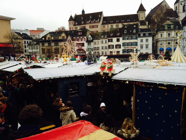 Overview of the Barfusserplatz section of the Basel Weihnachtsmarkt