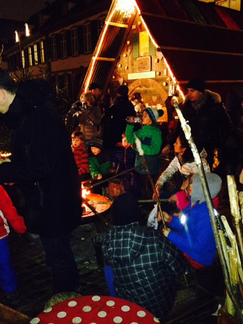 Kids bonfire at the Munsterplatz section of the Basel Weihnachtsmarkt