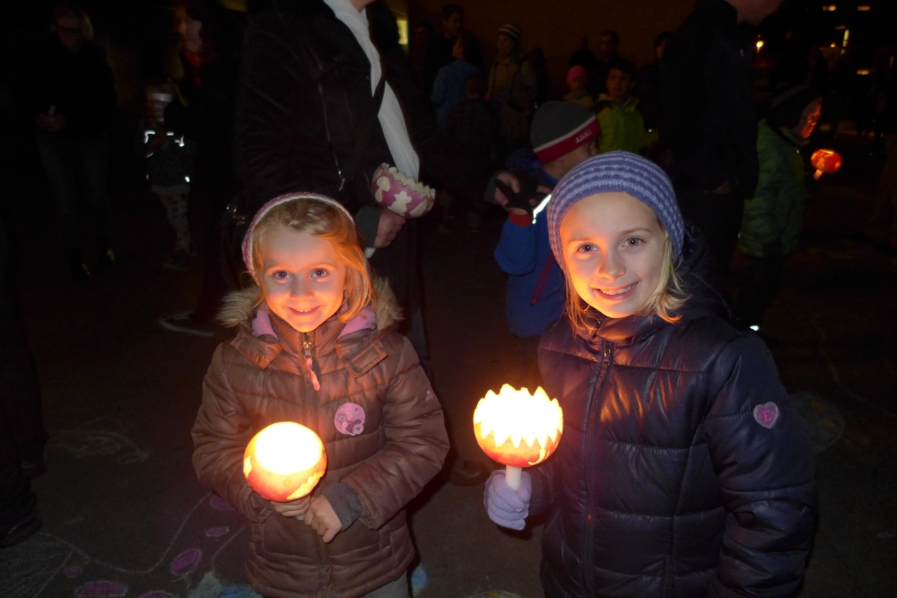 The girls at our towns Raebeliechtliumzug (turnip lantern parade). A swiss autumn tradition in the first week of November