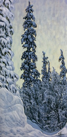 """Snowy Pines"" Acrylic on wood panel, 15 x 30 cm"