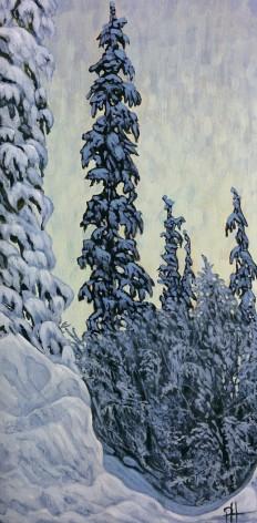 """Snowy Pines"" Acrylic on wood panel, 15 x 30 cm"